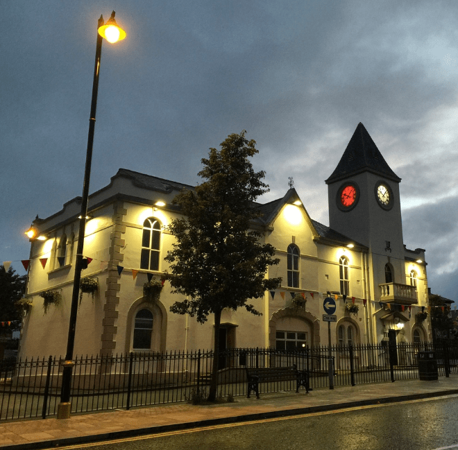 Ballyclare town hall lit up to support Nice