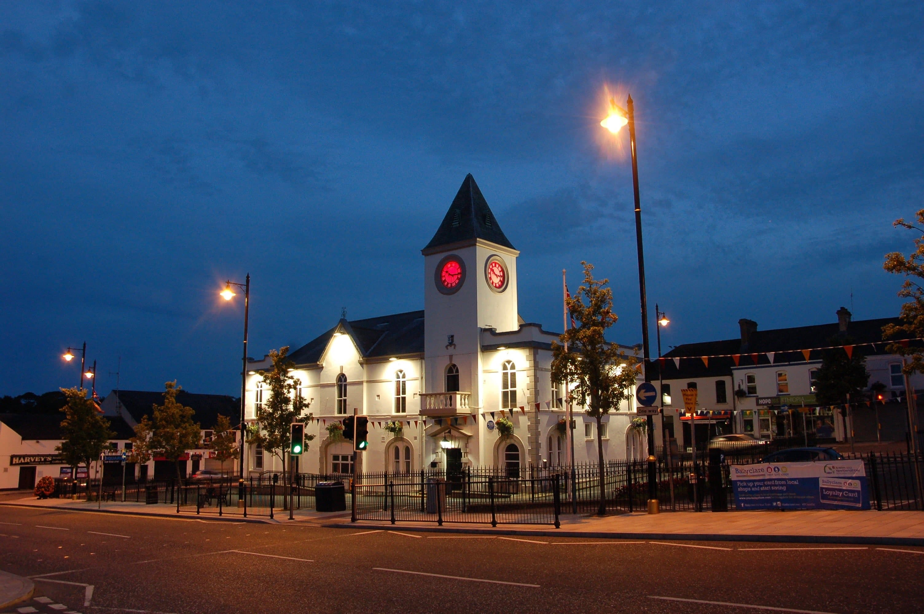 Ballyclare town hall lit up red in Somme commemoration